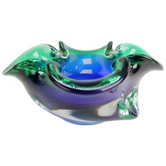 Vintage Italian Clear Blue and Emerald Green Murano Glass Bowl, 1950s