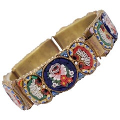 Vintage Italian Cloisonne Style Mosaic Link Bracelet in Brass Tone, Floral