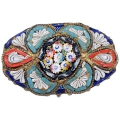 Vintage Italian Cloisonne Style Mosaic Link Pin Brooch in Brass Tone, Floral