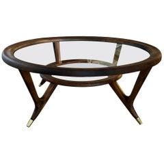 Vintage Italian Coffee Table Brass Sabot Legs