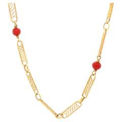 Vintage Italian Coral 18 Karat Gold Fancy Link Necklace