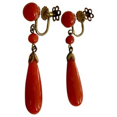 Vintage Italian Coral Teardrop Dangle 800 Silver Screw Back Earrings