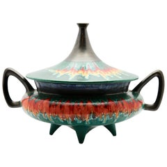 Vintage Italian Covered Bowl Tagine Shape with Anthracite and Flaming Glazes