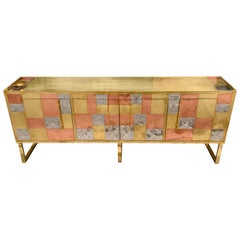 Vintage Italian Credenza, Brass Copper and Steel Geometric Design, 1970s