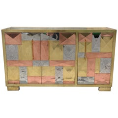 Vintage Italian Credenza, Brass Copper and Steel Plates, Geometric Design, 1970s
