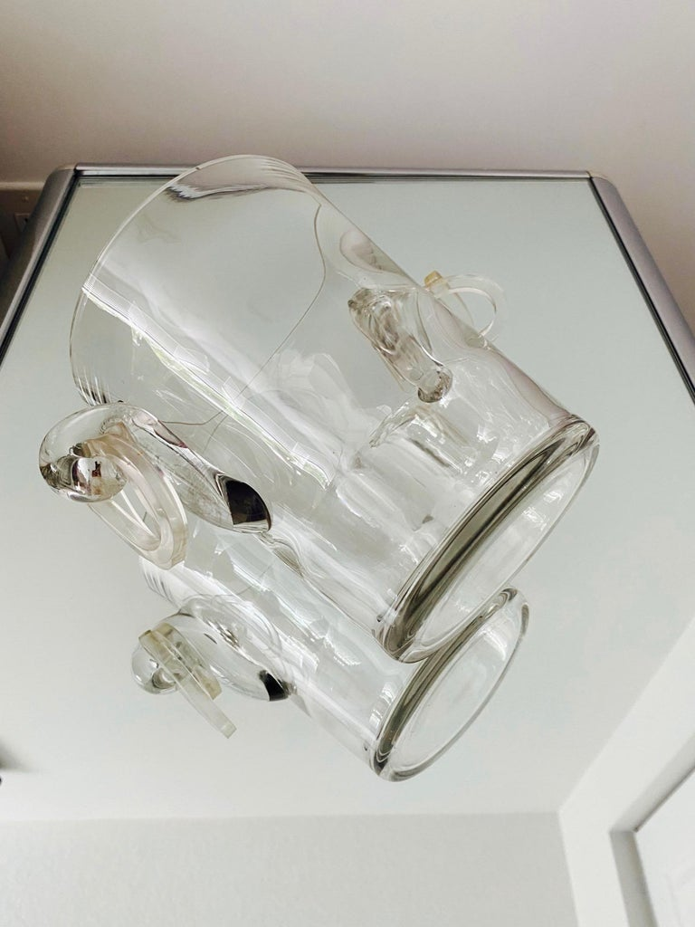 Vintage Italian Crystal Champagne Cooler with Lucite Handles, c. 1970's For Sale 4