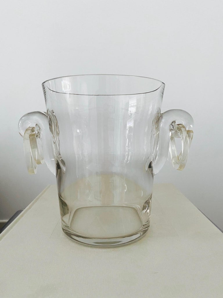 Mid-Century Modern Vintage Italian Crystal Champagne Cooler with Lucite Handles, c. 1970's For Sale