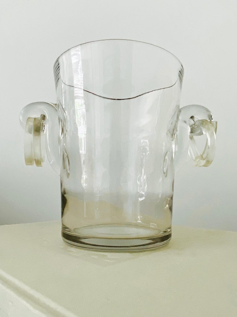 Beveled Vintage Italian Crystal Champagne Cooler with Lucite Handles, c. 1970's For Sale