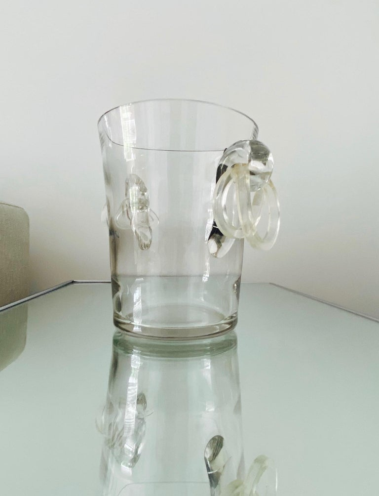 Vintage Italian Crystal Champagne Cooler with Lucite Handles, c. 1970's For Sale 2