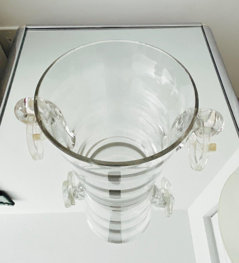 Vintage Italian Crystal Champagne Cooler with Lucite Handles, c. 1970's For Sale 3