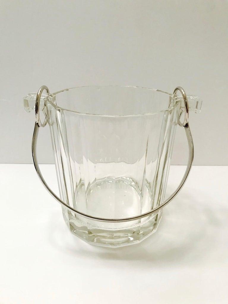 Mid-Century Modern Vintage Italian Crystal Ice Bucket with Nickel Handle, 1970s For Sale