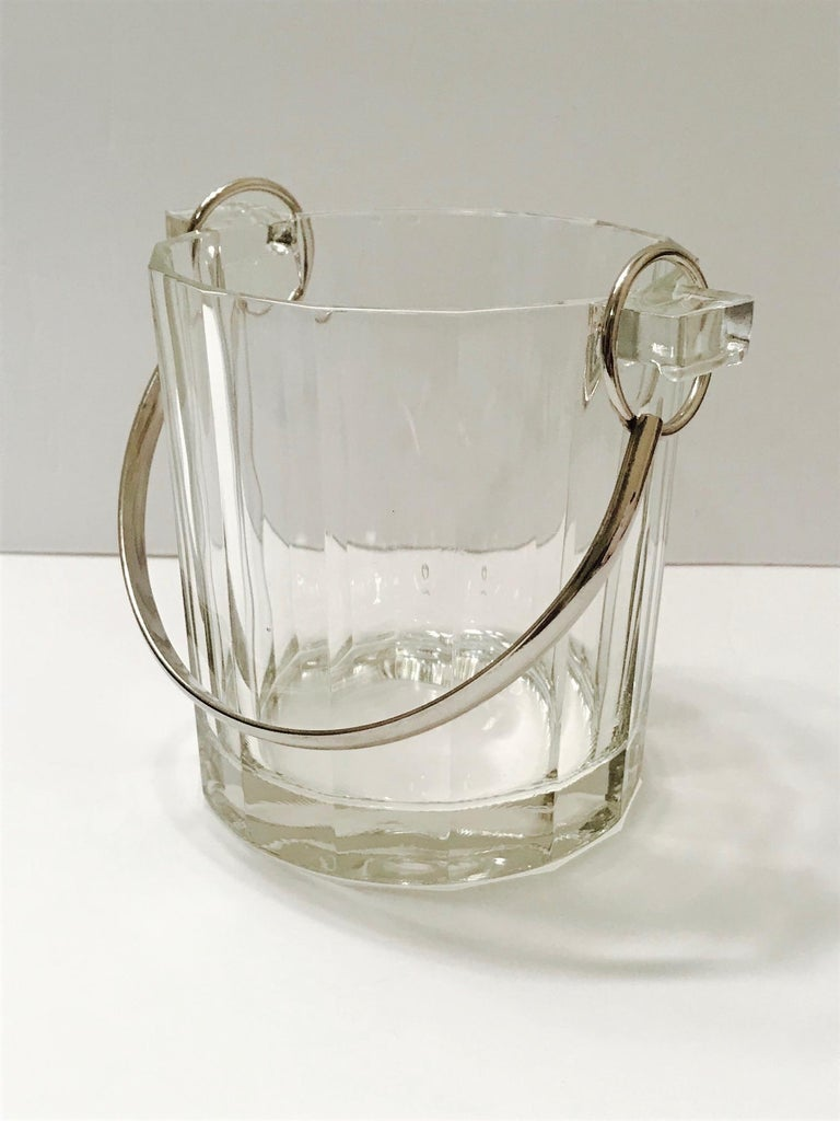 Faceted Vintage Italian Crystal Ice Bucket with Nickel Handle, 1970s For Sale