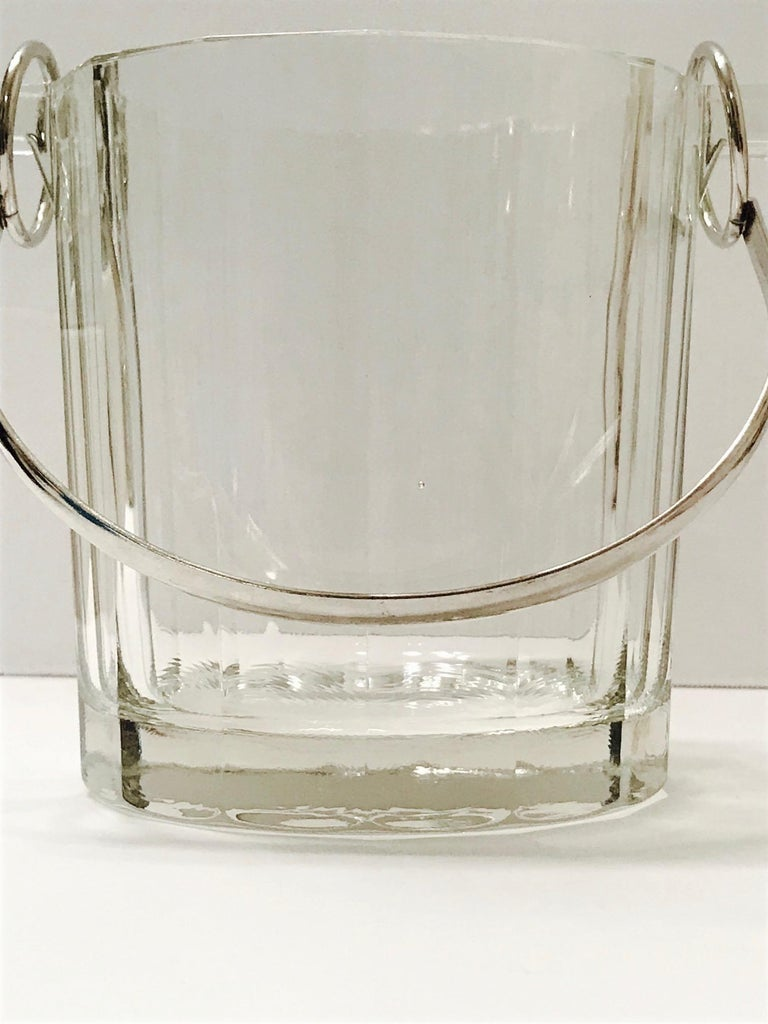 Vintage Italian Crystal Ice Bucket with Nickel Handle, 1970s In Good Condition For Sale In Fort Lauderdale, FL