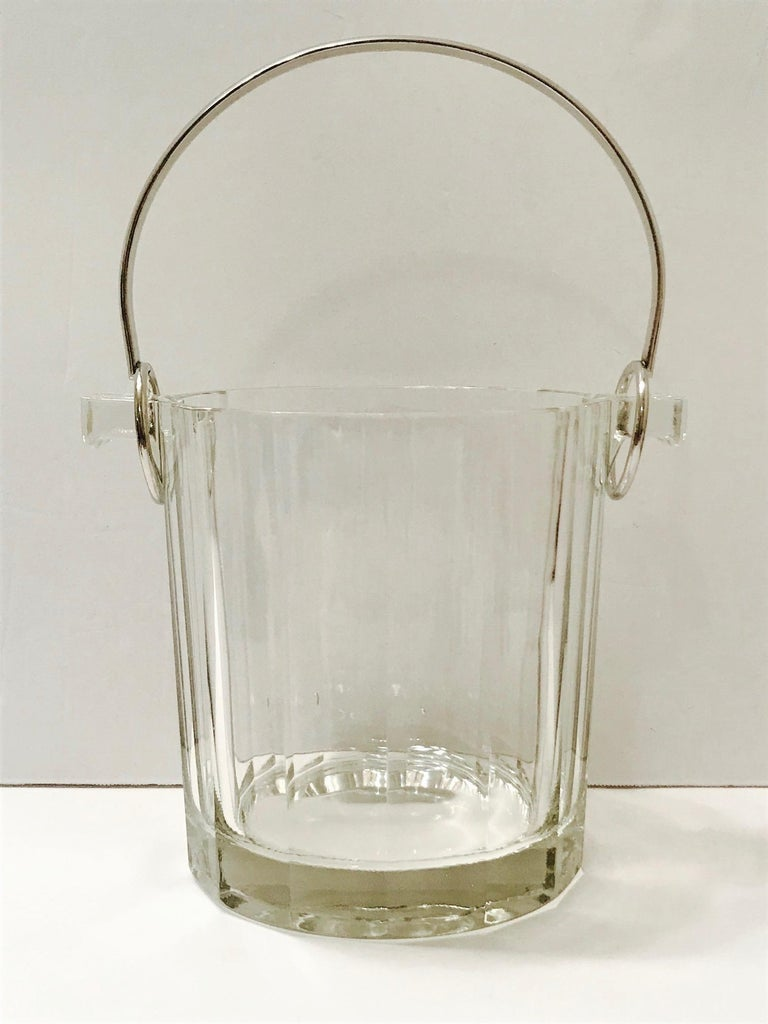 Late 20th Century Vintage Italian Crystal Ice Bucket with Nickel Handle, 1970s For Sale