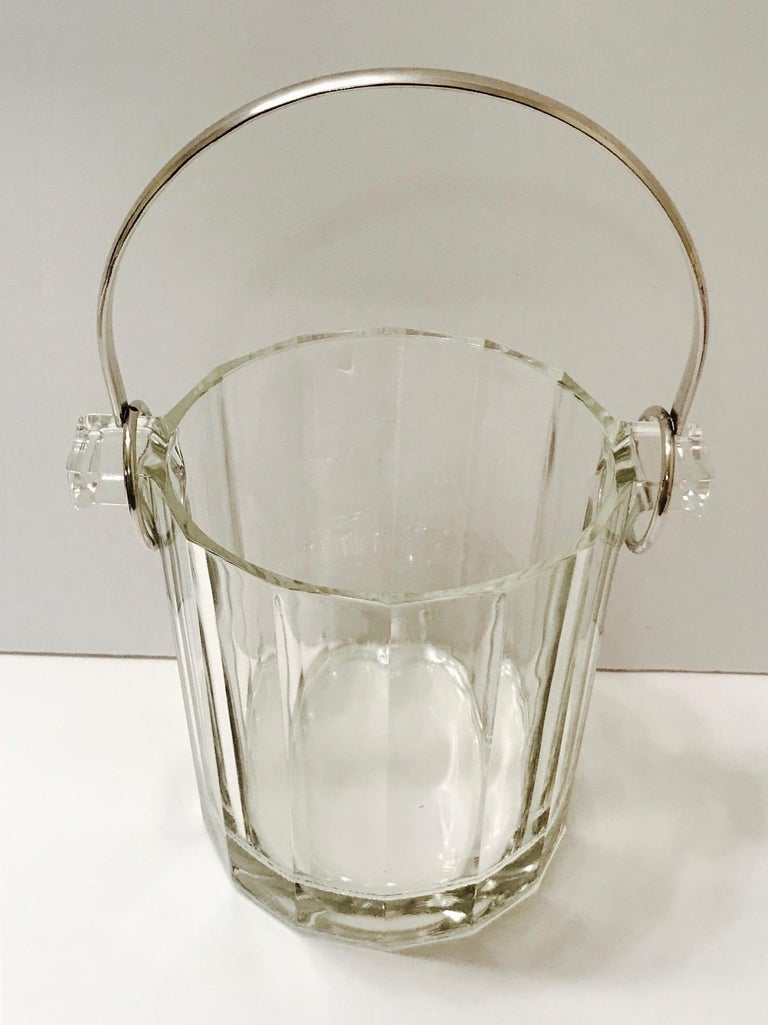 Vintage Italian Crystal Ice Bucket with Nickel Handle, 1970s For Sale 1