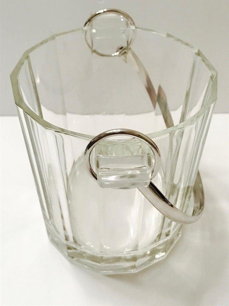 Vintage Italian Crystal Ice Bucket with Nickel Handle, 1970s For Sale 2