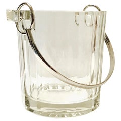Vintage Italian Crystal Ice Bucket with Nickel Handle, 1970s