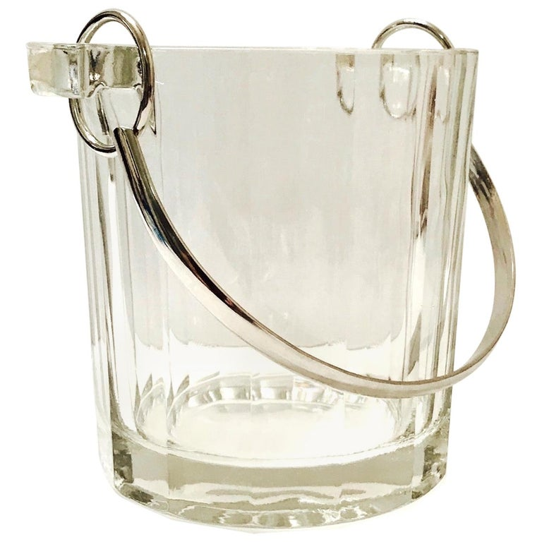 Vintage Italian Crystal Ice Bucket with Nickel Handle, 1970s For Sale