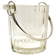 Vintage Italian Crystal Ice Bucket with Nickel Handle, 1970s