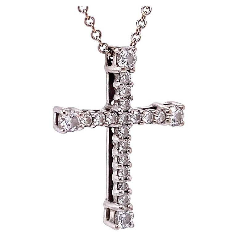 Vintage Italian Diamond 18 Karat White Gold Cross Necklace For Sale