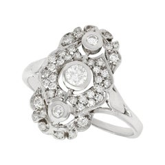 Vintage Italian Diamond and White Gold Cocktail Ring