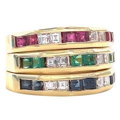Vintage Italian Diamond Sapphire Emerald Ruby 18K Gold Stacking Eternity Bands