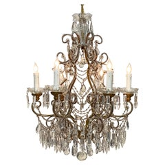 Vintage Italian Doubled Beaded Crystal and Glass Chandelier