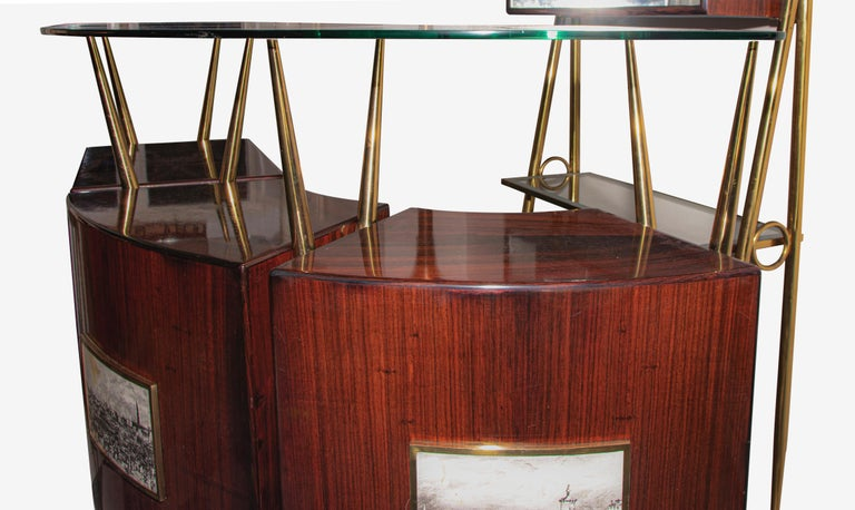 Vintage Italian Dry Bar style of Gio Ponti, circa 1955 In Good Condition For Sale In Roma, IT