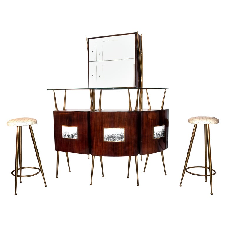 Vintage Italian Dry Bar style of Gio Ponti, circa 1955 For Sale