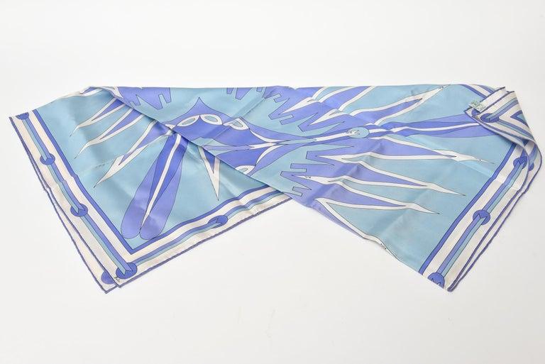 Blue  Pucci Geometric Silk Square Scarf Vintage For Sale