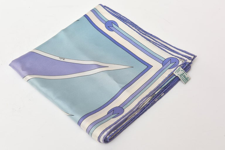 Pucci Geometric Silk Square Scarf Vintage For Sale 4