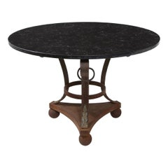 Vintage Italian Empire Style Wrought Iron Coffee Table with Black Marble Top