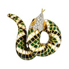 Vintage Italian Enamel Pave Diamond Ruby 18 Karat Gold Snake Brooch