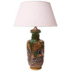 Vintage Italian Floral Relief Ceramic Lamp by Ugo Zaccagnini