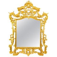 Vintage Italian Florentine Carved Giltwood Mirror, 20th Century
