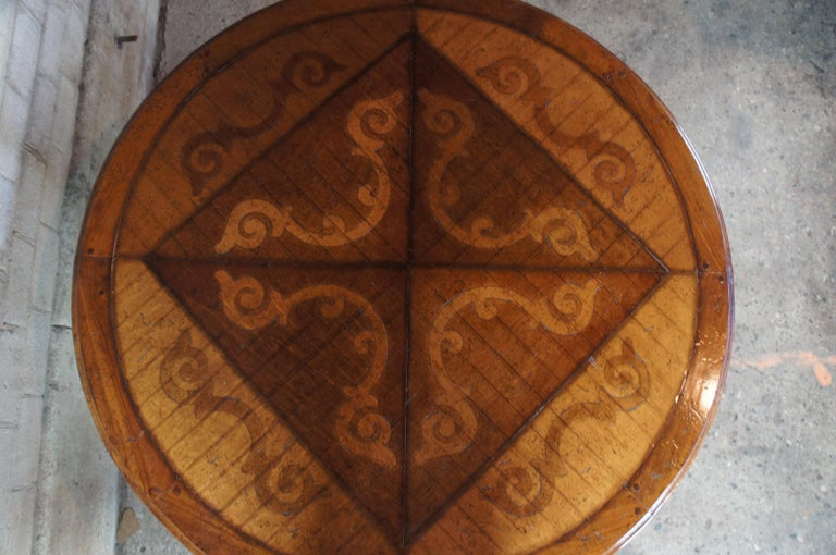 Vintage Italian Florentine Round Old World Distressed Oak Dining Table For Sale 2