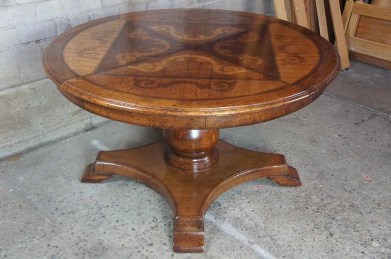 Vintage Italian Florentine Round Old World Distressed Oak Dining Table For Sale 5