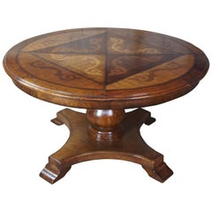 Vintage Italian Florentine Round Old World Distressed Oak Dining Table