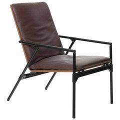 Vintage Italian Folding Dark Brown Leather Armchair, circa 1960