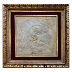 Vintage Italian Framed High Relief Wax Art Form of Madonna and Child, circa 1900