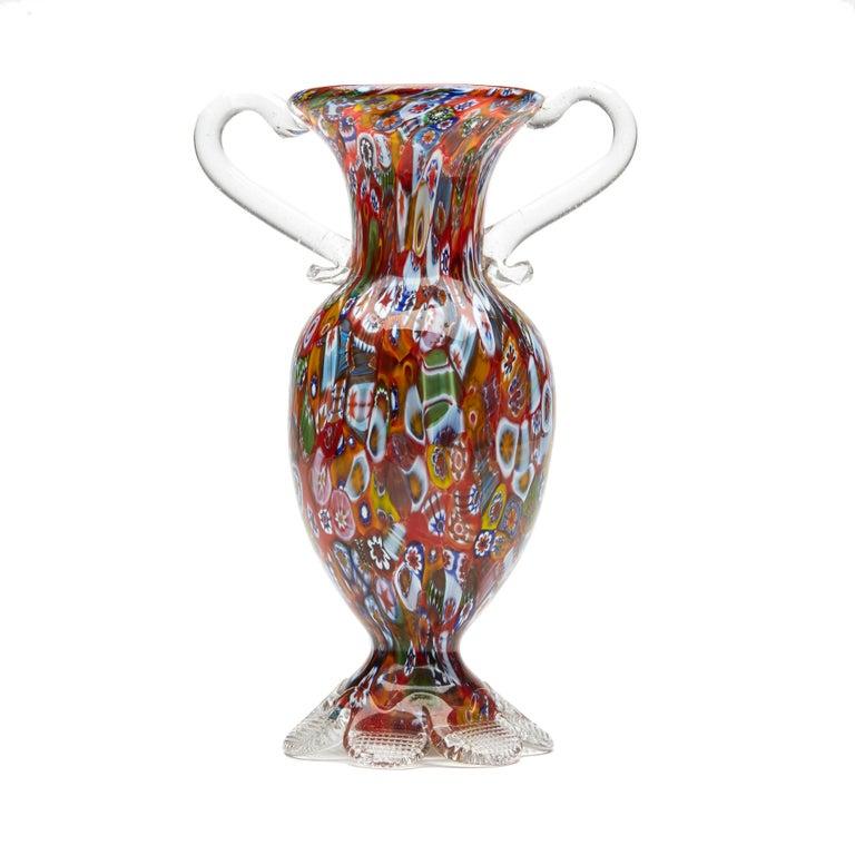Vintage Italian Fratelli & Toso Millefiori Glass Vase, 20th Century In Good Condition For Sale In Bishop's Stortford, Hertfordshire