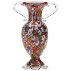 Vintage Italian Fratelli & Toso Millefiori Glass Vase, 20th Century
