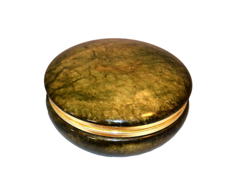Vintage Italian genuine hand carved emerald green round alabaster box with brass ring made in Italy. No markings.