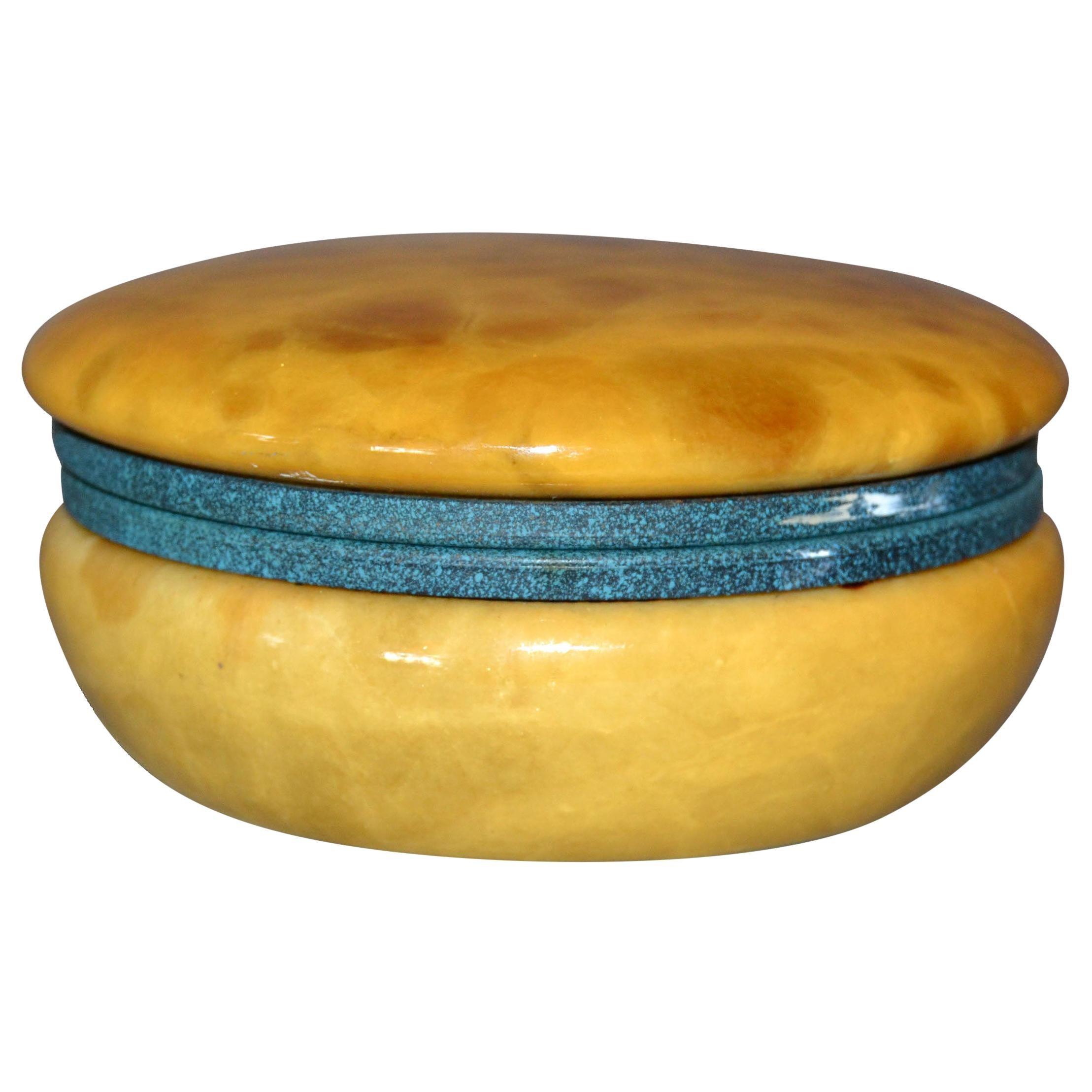 Vintage Italian Genuine Hand Carved Gold and Green Round Alabaster Trinket Box