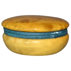 Vintage Italian Genuine Hand Carved Gold and Green Round Alabaster Trinket Box