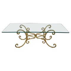 Vintage Italian Gilded Twisted Iron Rope Coffee or Cocktail Table Rectangle Top