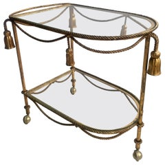 Vintage Italian Gilt Rope & Tassle Drinks Trolley Bar Cart