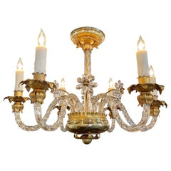 Vintage Italian Gilt Tole and Glass 6 Light Chandelier with Flowers
