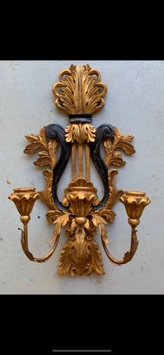 Vintage Italian Gilt Wood 3 Arm Harp Sconces, a Pair