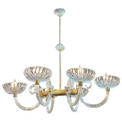 Vintage Italian Glass and Brass 6 Light Chandelier by Barovier and Toso